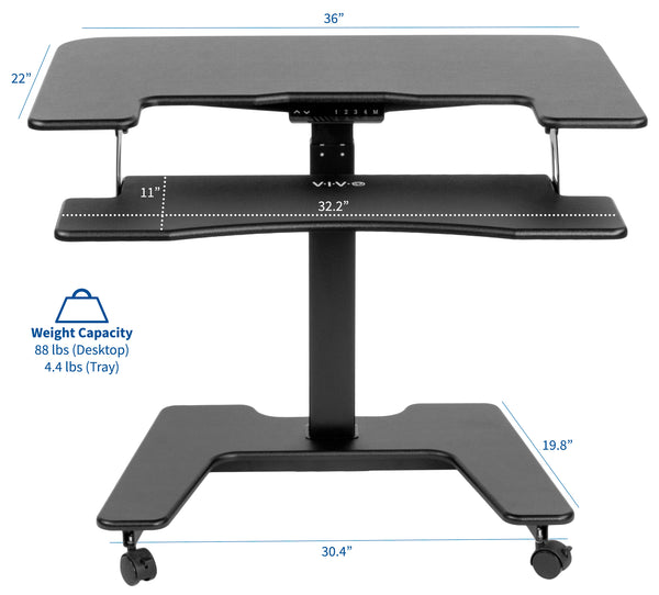 "DESK-V111VT<br><br><span style=font-weight:normal;>Black Electric Mobile Height Adjustable Two Platform Standing Desk with Wheels | Dual Tiered Rolling Workstation 36""</span>"