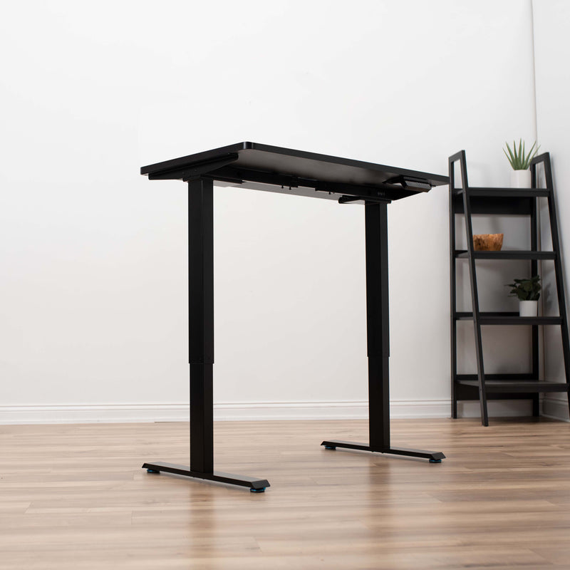 Black Electric Dual Motor Desk Frame adjustable feet