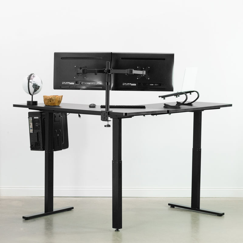 Black Electric Multi Motor Corner Desk