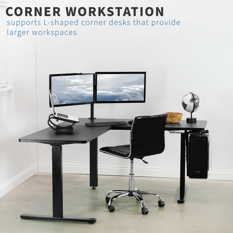 Black Electric Multi Motor Corner Desk Frame