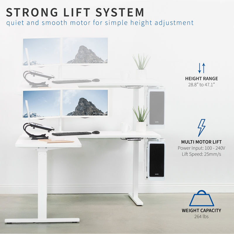 White Electric Multi Motor Corner Desk Frame