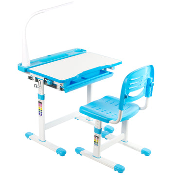 DESK-V303B <br><br>Blue Kids' Height Adjustable Desk and Chair