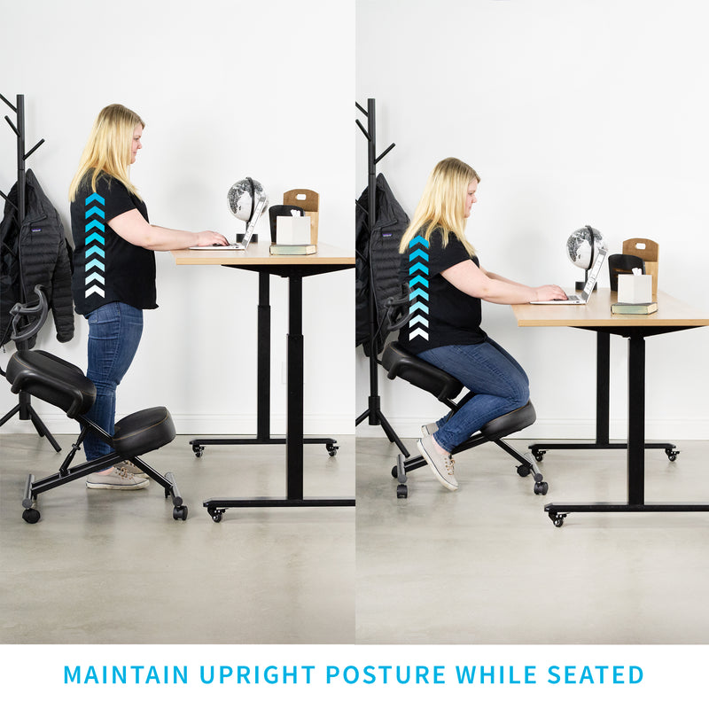 DN-CH-K02B <br><br>Black Adjustable Ergonomic Kneeling Chair with Back Support