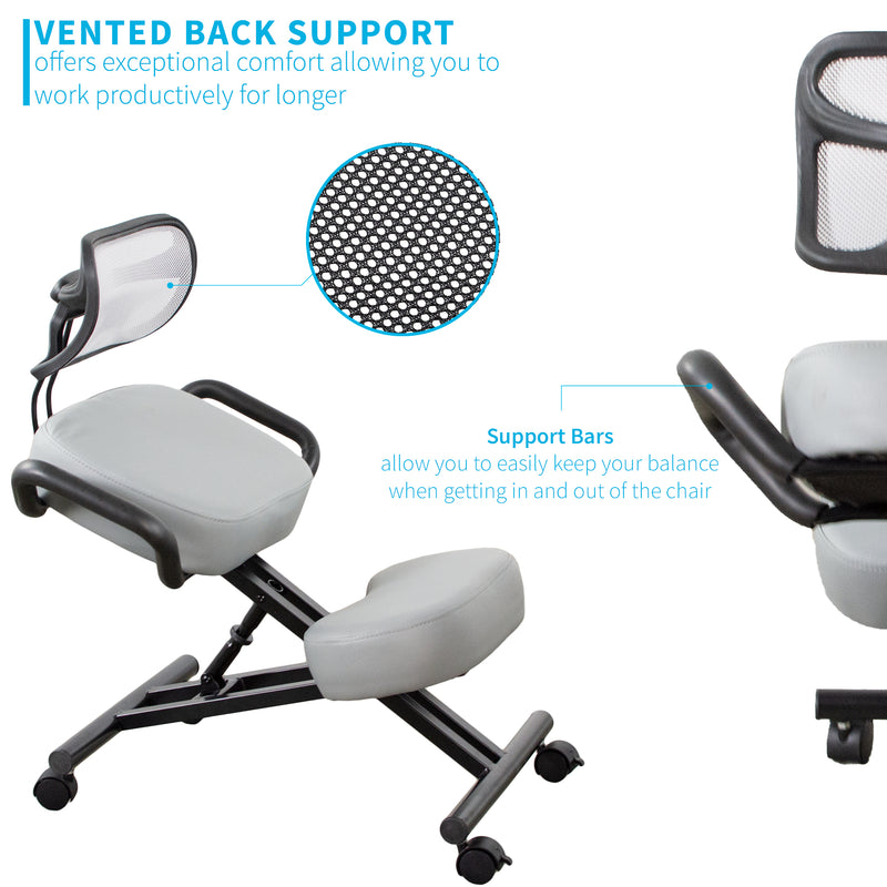 DN-CH-K02G <br><br>Gray Adjustable Ergonomic Kneeling Chair with Back Support