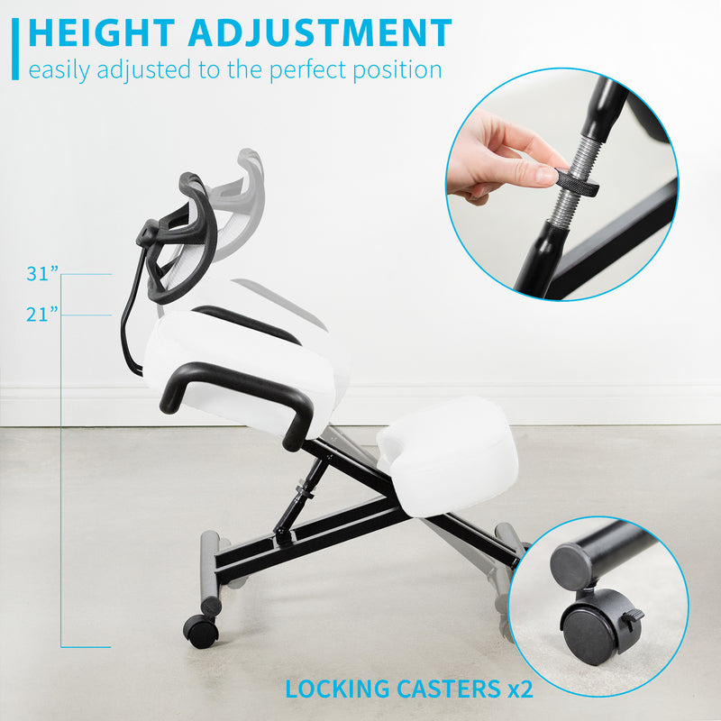 DN-CH-K02W <br><br>White Adjustable Ergonomic Kneeling Chair with Back Support