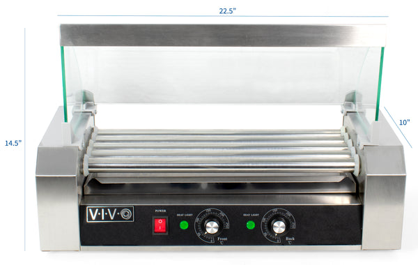 HOTDG-V205<br><br><span style=font-weight:normal;>Five (5) Roller Electric Hot Dog Grill Cooker Machine 750-Watt with Sanitation Hood </span>