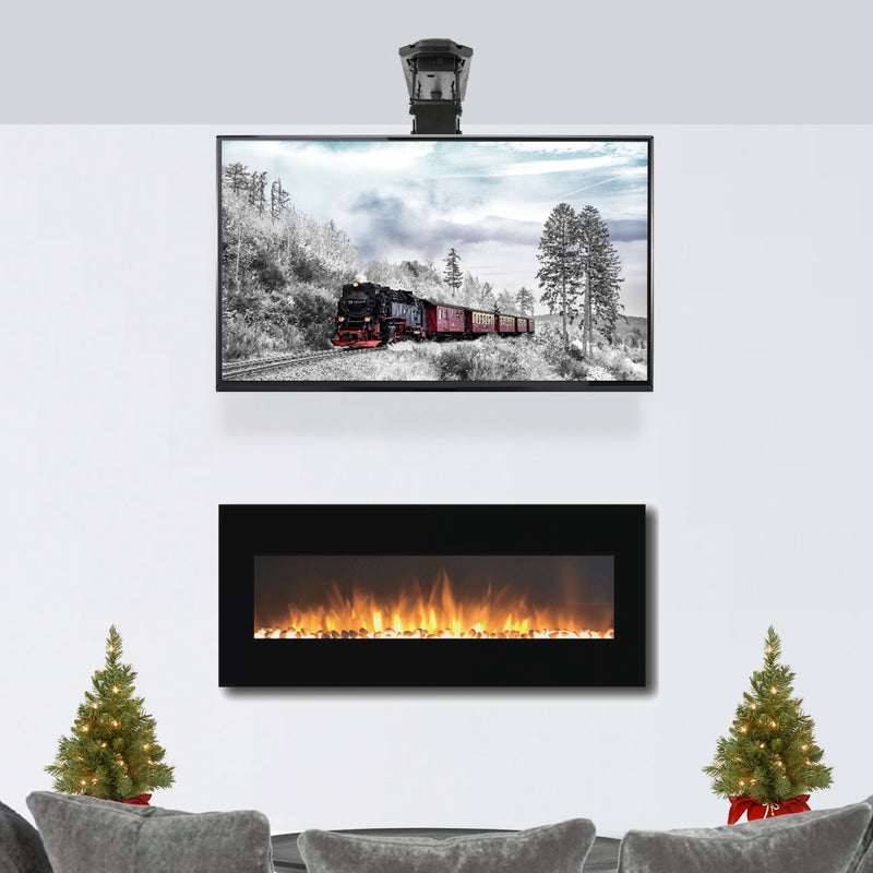 Electric Flip Down tv Ceiling Mount above fireplace
