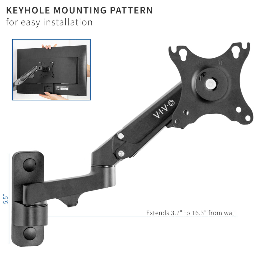 MOUNT-G100B<br><br>Premium Aluminum Single Monitor Wall Mount for a 17