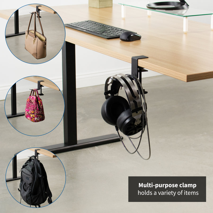 MOUNT-HDPH01<br><br>Black Clamp-on Headphone Holder