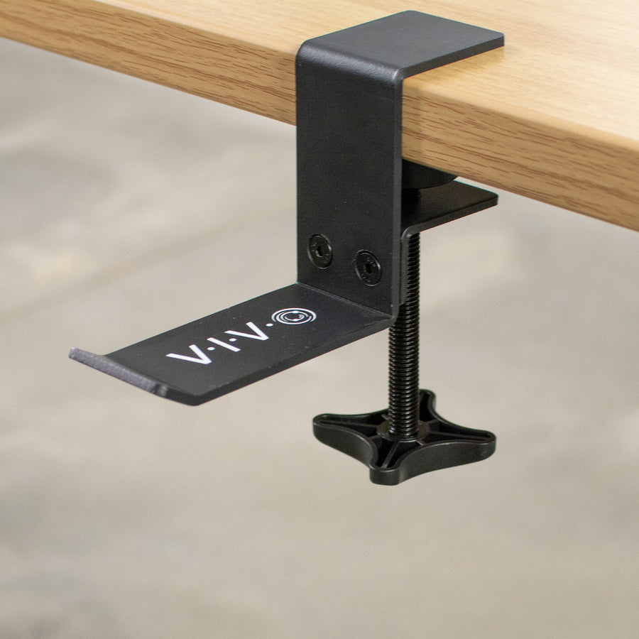 MOUNT-HDPH01<br><br>Black Metal Clamp-on Desk Headphone Holder