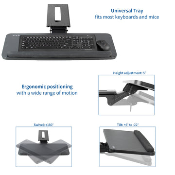 Under desk black keyboard mount