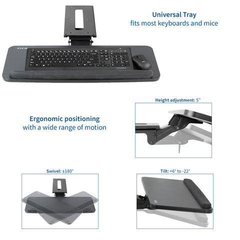 MOUNT-KB03B <br><br><span style=font-weight:normal;>VIVO Adjustable Computer Keyboard & Mouse Platform Tray Ergonomic Under Table Desk Mount</span>