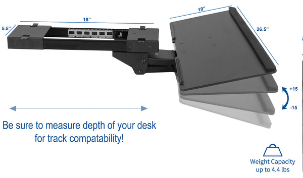 MOUNT-KB04C <br><br><span style=font-weight:normal;>Black Adjustable Computer Keyboard & Mouse Platform Tray Deluxe Rolling Track Under Table Desk Mount</span>