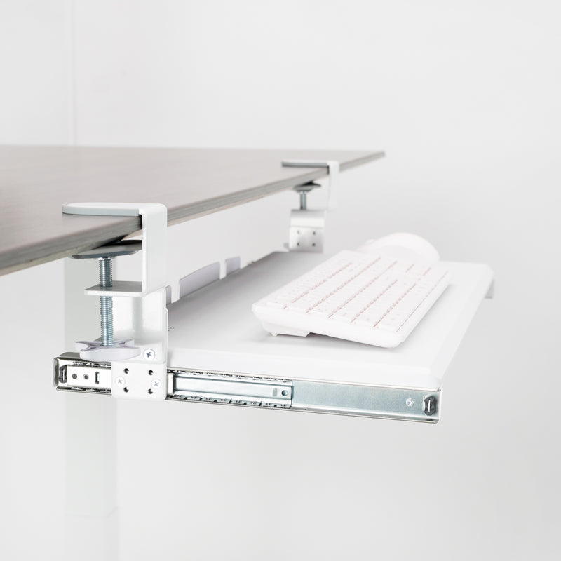 White Clamp-on Keyboard Tray