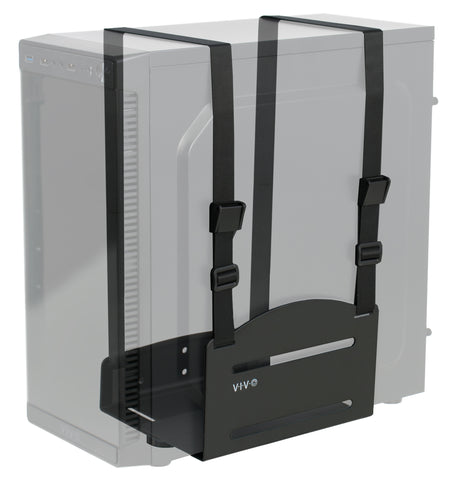 MOUNT-PC03V<br><br><span style=font-weight:normal;>Black Universal PC Wall Mount - Adjustable Steel Bracket | Computer Case Open Frame Strap Holder </span>
