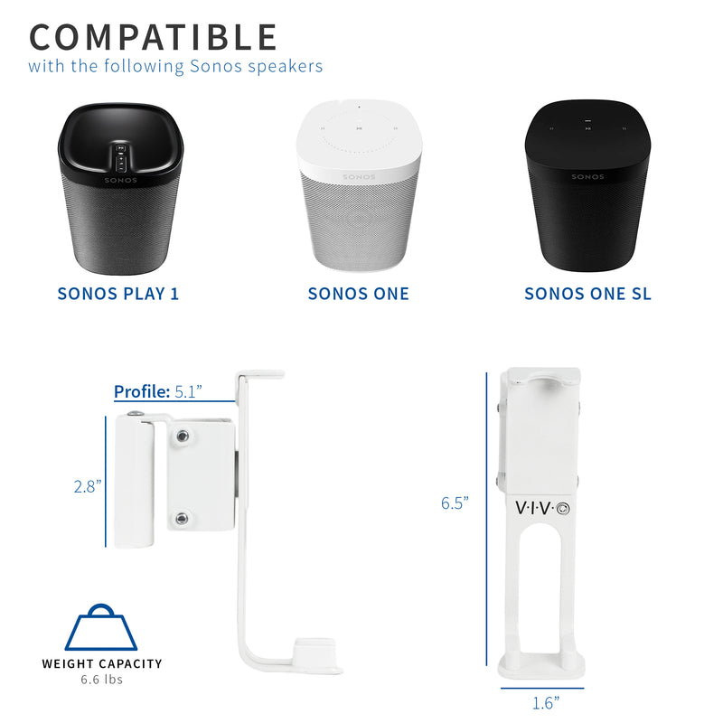 MOUNT-PLAY1W <br><br>White Dual Wall Mount Designed for Sonos Play 1
