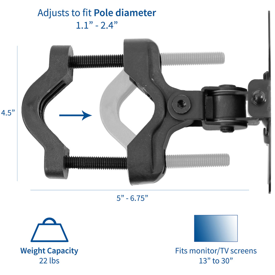 Mount Pole01 Bracket Pole Mount For Vesa 75x75mm And 100x100mm Vivo Desk Solutions Screen Mounting And More