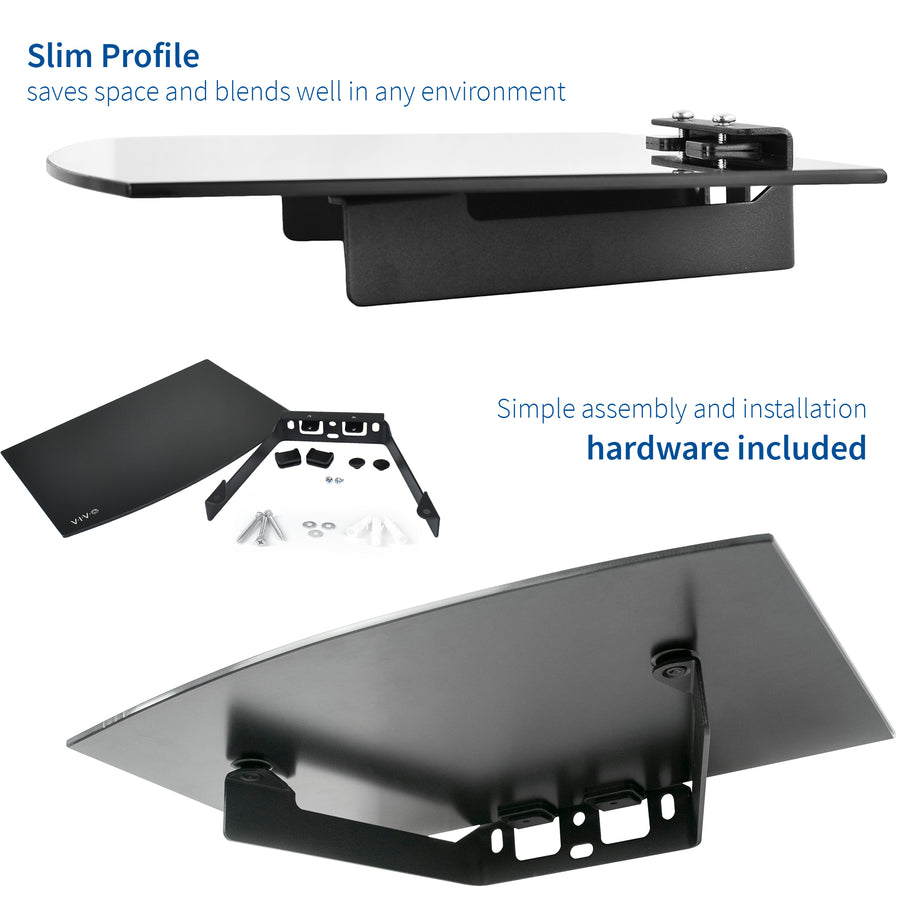 Floating Wall Mount Tempered Glass Shelf for DVD Player, Audio, Gaming Systems, Streaming Devices
