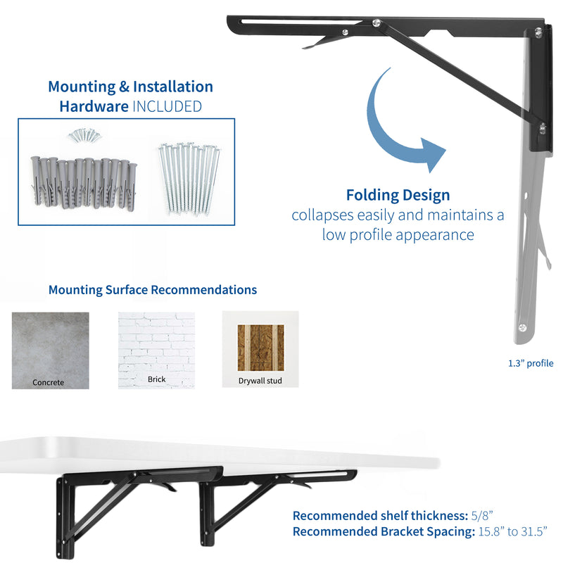 MOUNT-SF1BB <br><br>Wall Brackets for Folding Workbench