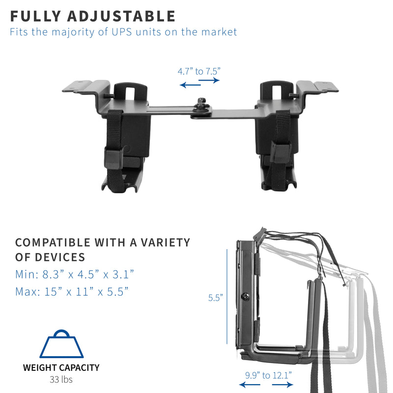 fully adjustable Universal Under Desk and Wall UPS Mount
