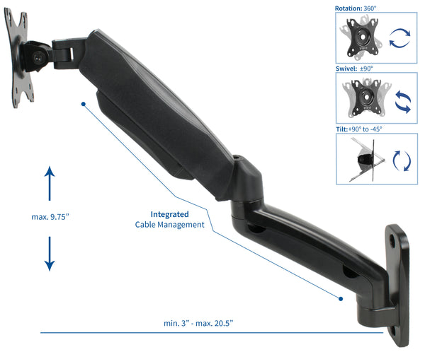 MOUNT-V001G<br><br>Pneumatic Arm Single Monitor Wall Mount