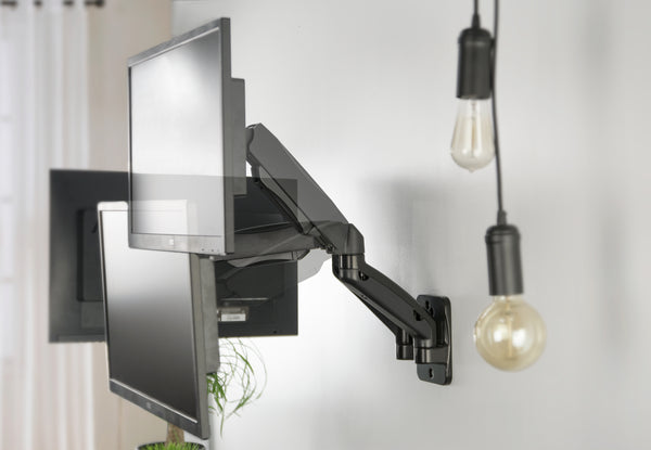 Mount V002gblack Gas Spring Extended Arm Dual Monitor Wall