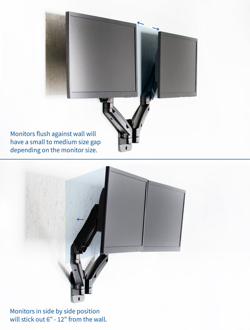 MOUNT-V002G<br><br>Pneumatic Arm Dual Monitor Wall Mount