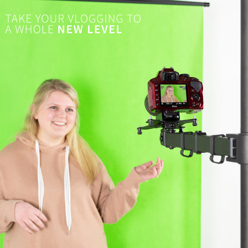 take your vlogging to a new level with Universal Camera VESA Adapter and girl in front of screen