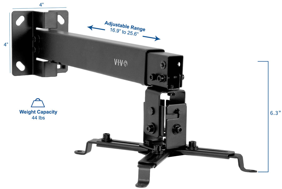 MOUNT-VP06B <br><br>Black Universal Adjustable Wall Ceiling Projector Mount