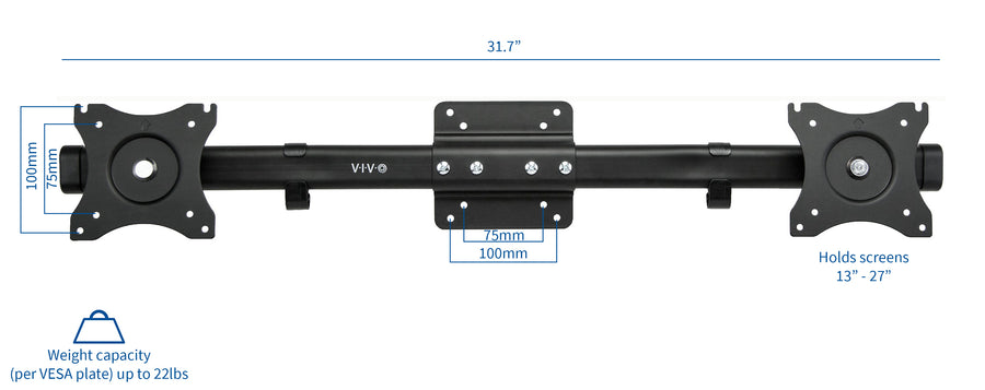 MOUNT-VW02A <br><br>VESA Bracket Adaptor Mount for 2 Monitor Screens up to 27