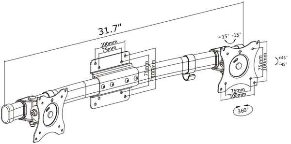 MOUNT-VW02A Dual VESA Bracket Adaptor Horizontal Assembly