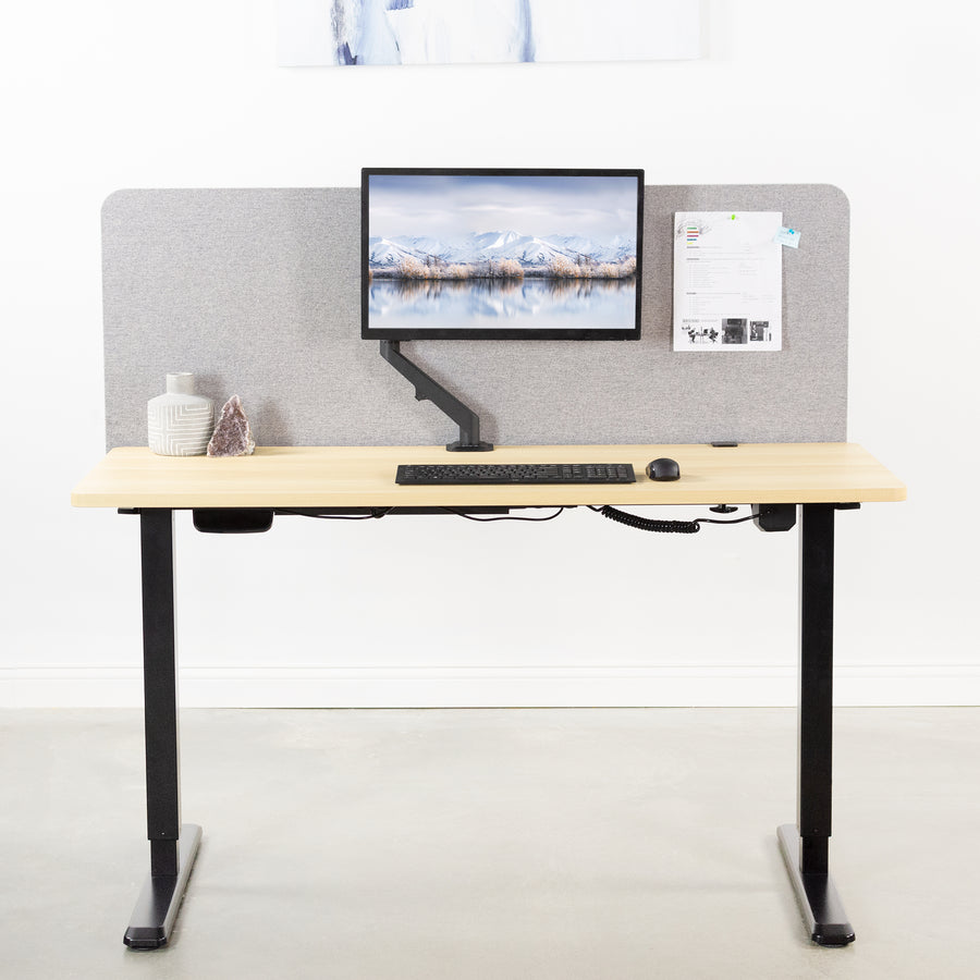 "PP-1-V060G<br><br>Gray 60"" x 24"" Clamp-on Desk Privacy Panel"
