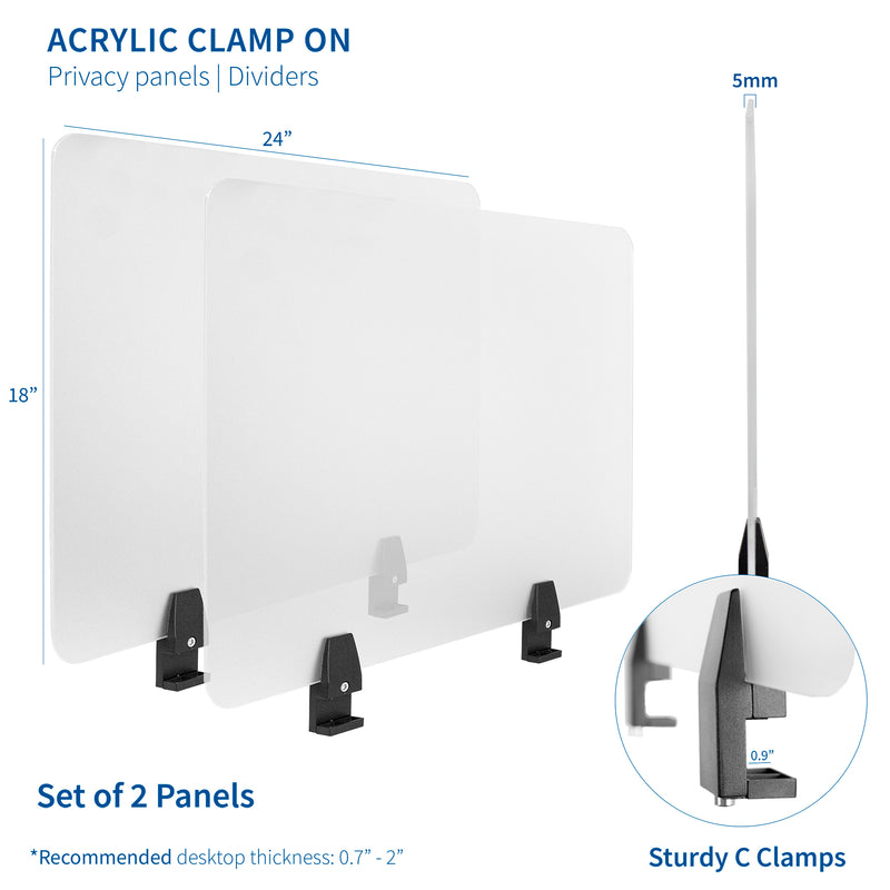 Frosted Clamp-on Desk Privacy Panels