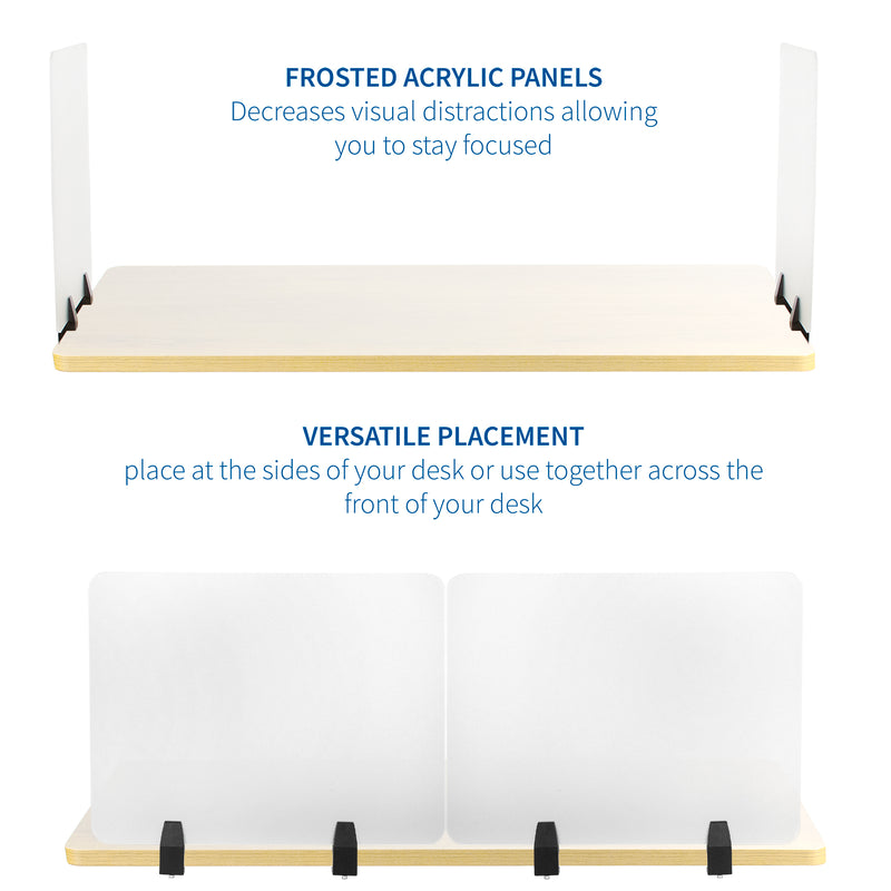 "PP-2-G048C<br><br>Frosted 24"" x 18"" Clamp-on Desk Privacy Panels (x2)"