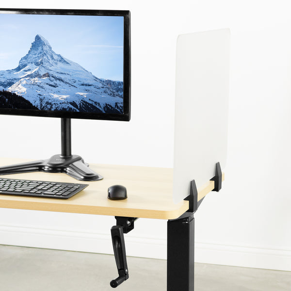 Frosted Clamp-on Desk Privacy Panels with hand crank desk and monitor