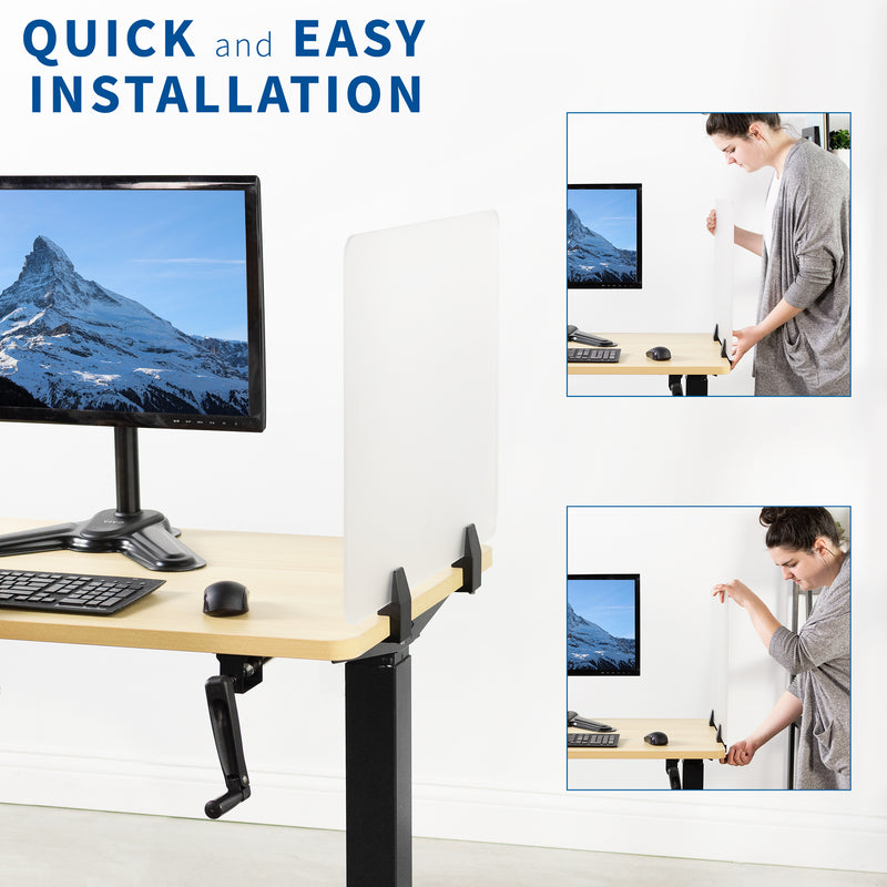Frosted Clamp-on Desk Privacy Panels quick and easy installation