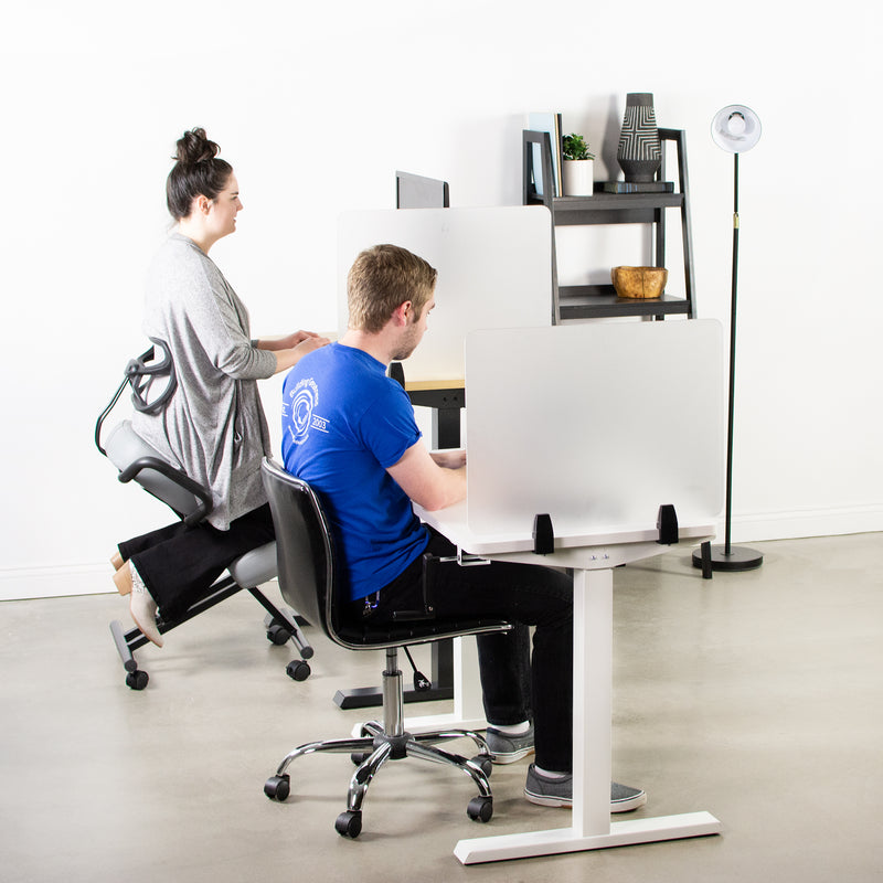 man and women working at desks with Frosted Clamp-on Desk Privacy Panels