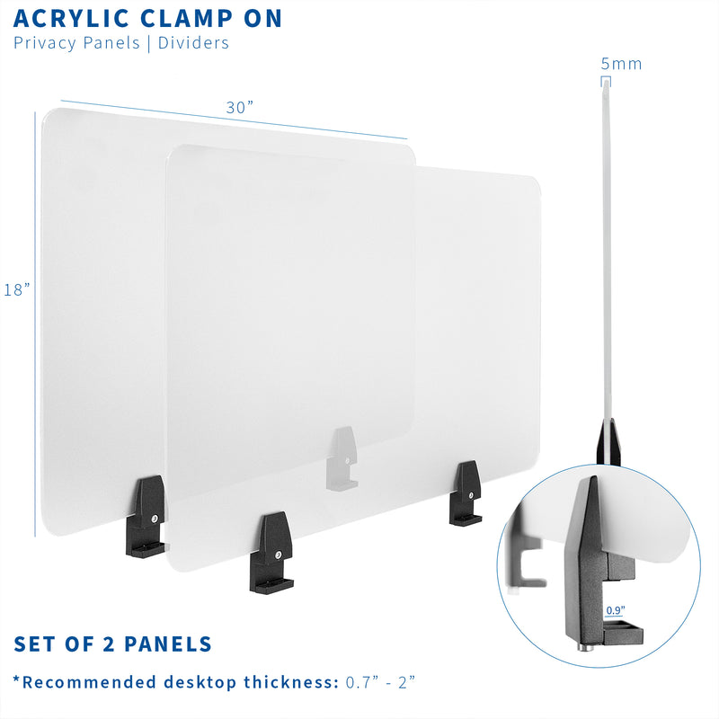 "PP-2-G060C<br><br>Frosted 30"" x 18"" Clamp-on Desk Privacy Panels (x2)"