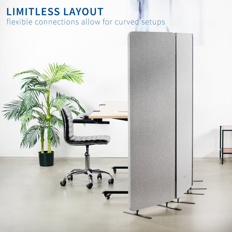 "Gray 72"" x 66"" Freestanding Room Divider"
