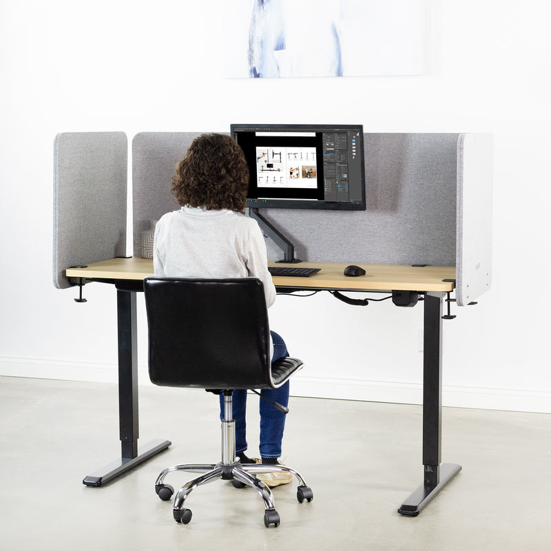 "PP-3-V108G<br><br>Gray 60"" (x1) and 24"" (x2) Clamp-on Desk Privacy Panels"