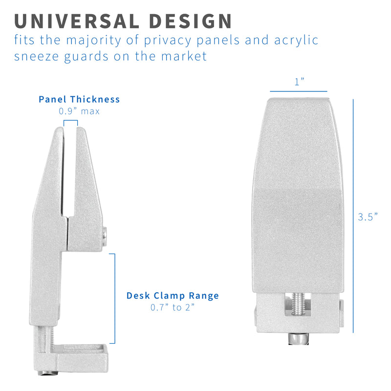 Silver Privacy Panel Desk Clamps universal design