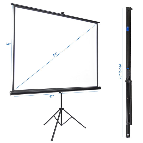 "PS-T-084  <br><br>84"" Portable Tripod Projector Screen 4:3"