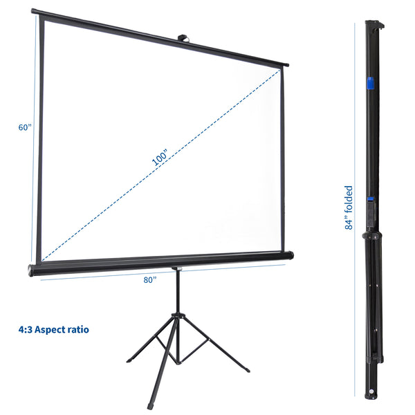 "PS-T-100  <br><br>100"" Portable Tripod Projector Screen 4:3"