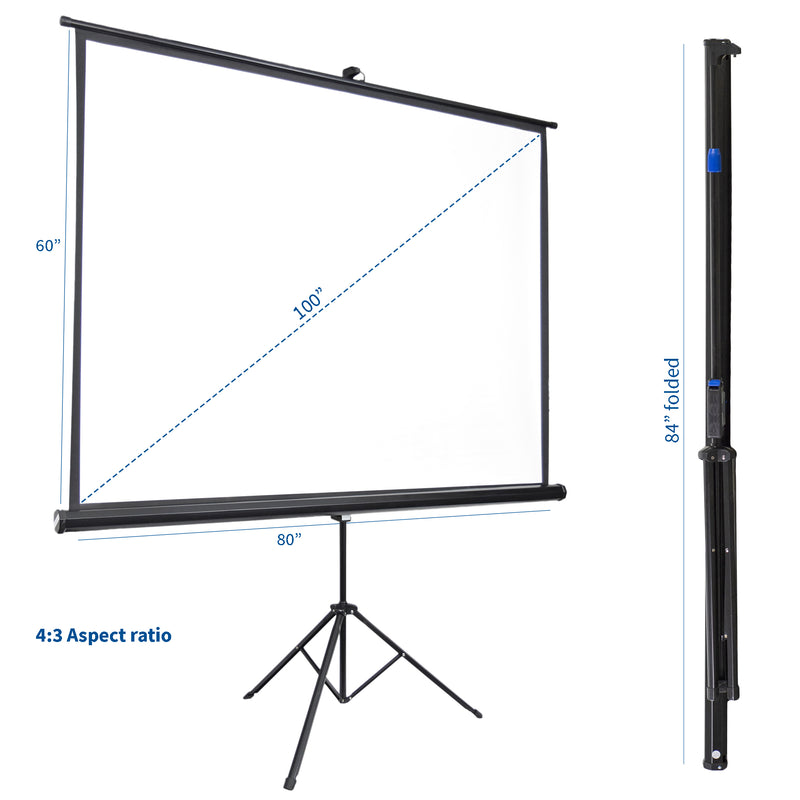 """New 100/"""" 4:3 Tripod Portable Projection Projector Screen"""
