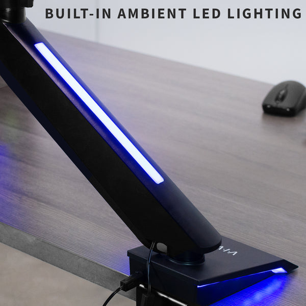 Single Gaming Pneumatic Monitor Arm - Blue LED Lights