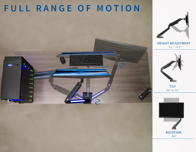 STAND-GM1BB<br><br>Single Gaming Pneumatic Monitor Arm - Blue LED Lights
