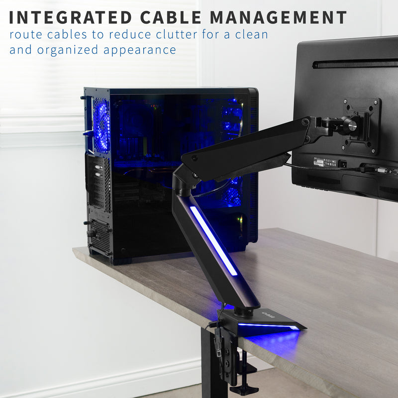Single Gaming Pneumatic Monitor Arm - Blue LED Lights  cable management