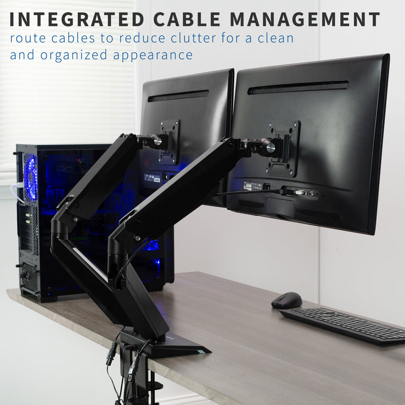 Dual Gaming Pneumatic Monitor Arms - Blue LED Lights integrated cable management