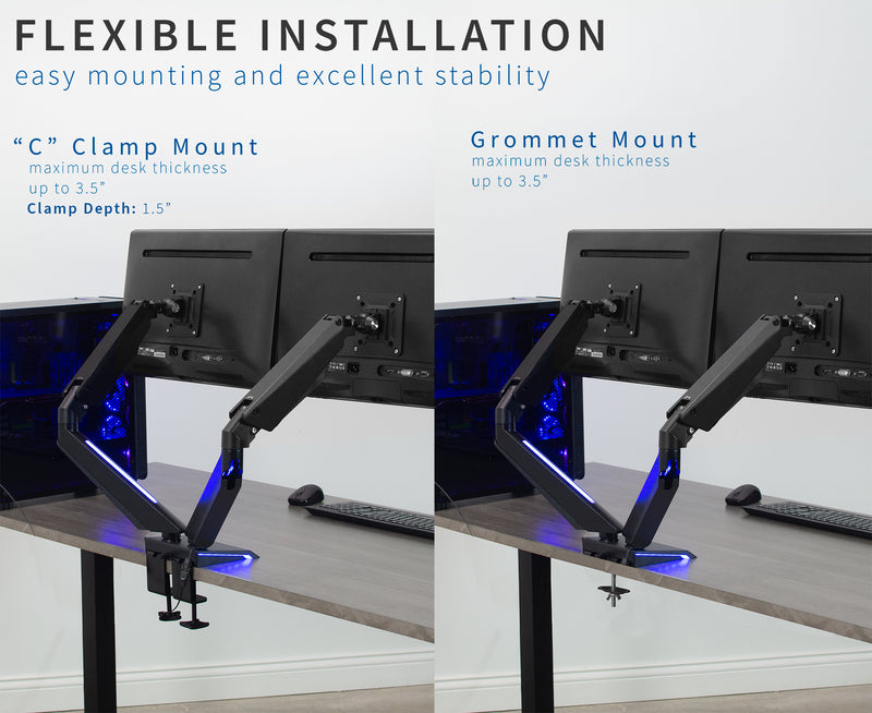 STAND-GM2BB<br><br>Dual Gaming Pneumatic Monitor Arms - Blue LED Lights