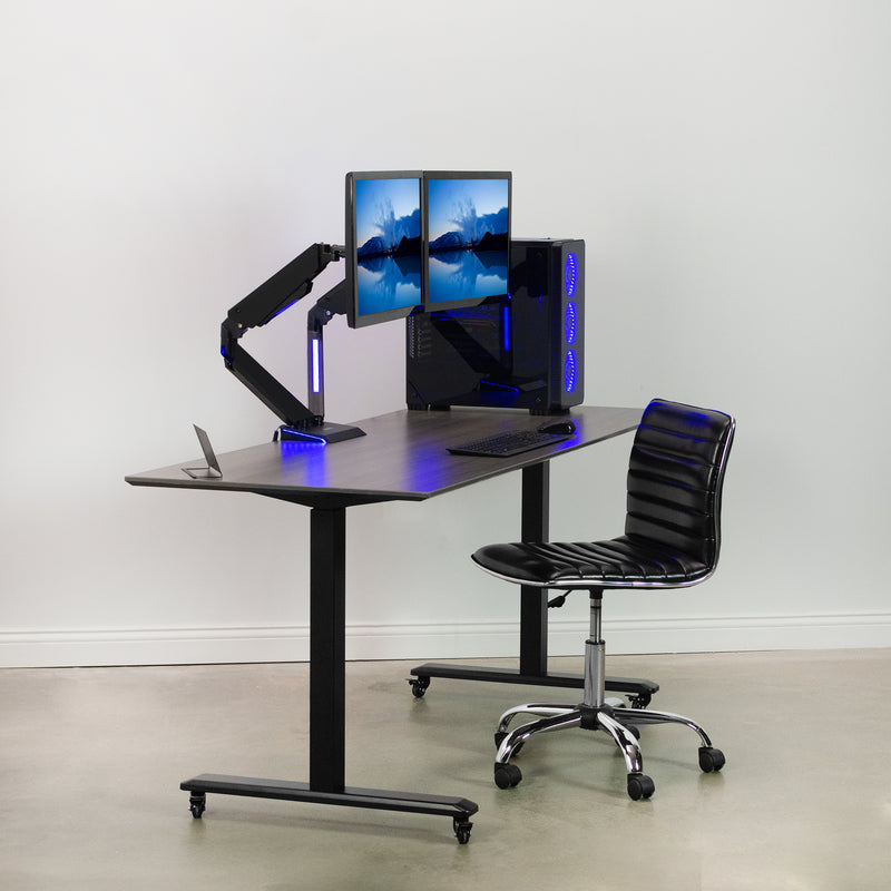Dual Gaming Pneumatic Monitor Arms - Blue LED Lights